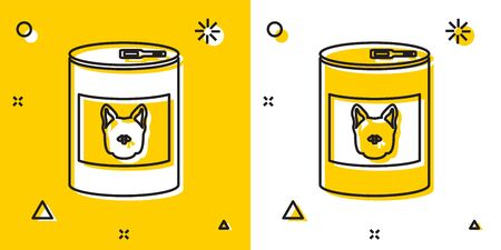 Black Canned food for dog icon isolated on yellow and white background. Food for animals. Pet dog food can. Random dynamic shapes. Vector Illustration Illusztráció