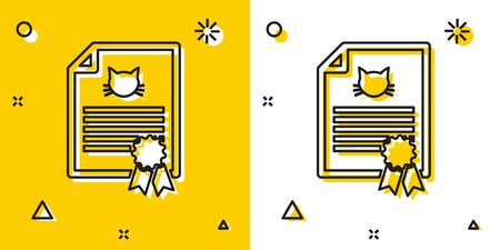 Black Medical certificate for travel with dog or cat icon isolated on yellow and white background. Document for pet. Dog or cat paw print. Random dynamic shapes. Vector Illustration