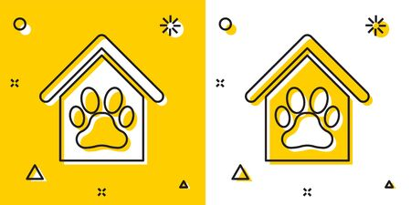 Black Dog house and paw print pet icon isolated on yellow and white background. Dog kennel. Random dynamic shapes. Vector Illustration