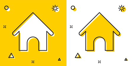 Black Dog house icon isolated on yellow and white background. Dog kennel. Random dynamic shapes. Vector Illustration