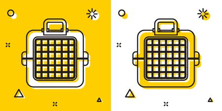 Black Pet carry case icon isolated on yellow and white background. Carrier for animals, dog and cat. Container for animals. Animal transport box. Random dynamic shapes. Vector Illustration