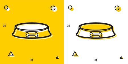 Black Pet food bowl for cat or dog icon isolated on yellow and white background. Dog bone sign. Random dynamic shapes. Vector Illustration Illustration