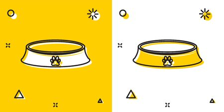 Black Pet food bowl for cat or dog icon isolated on yellow and white background. Dog or cat paw print. Random dynamic shapes. Vector Illustration