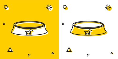 Black Pet food bowl for cat or dog icon isolated on yellow and white background. Random dynamic shapes. Vector Illustration Illustration