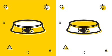 Black Pet food bowl for cat or dog icon isolated on yellow and white background. Fish skeleton sign. Random dynamic shapes. Vector Illustration