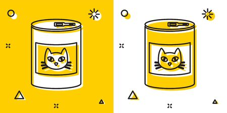 Black Canned food for cat icon isolated on yellow and white background. Food for animals. Pet dog food can. Random dynamic shapes. Vector Illustration Imagens - 129756652