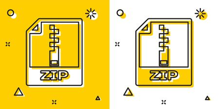 Black ZIP file document. Download zip button icon isolated on yellow and white background. ZIP file symbol. Random dynamic shapes. Vector Illustration
