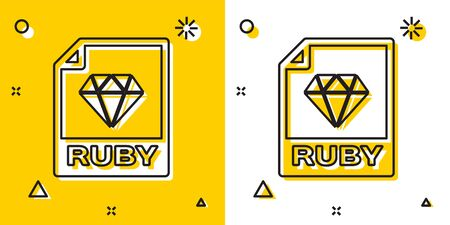 Black RUBY file document. Download ruby button icon isolated on yellow and white background. RUBY file symbol. Random dynamic shapes. Vector Illustration Reklamní fotografie - 129756669