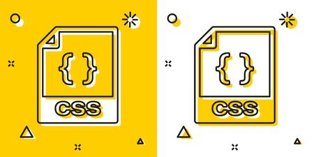 Black CSS file document. Download css button icon isolated on yellow and white background. CSS file symbol. Random dynamic shapes. Vector Illustration Banque d'images - 129756716