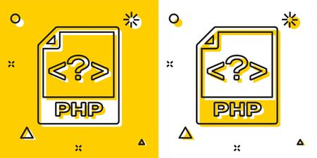 Black PHP file document. Download php button icon isolated on yellow and white background. PHP file symbol. Random dynamic shapes. Vector Illustration Ilustrace