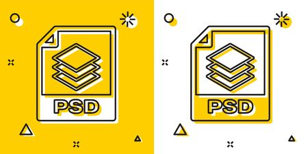 Black PSD file document. Download psd button icon isolated on yellow and white background. PSD file symbol. Random dynamic shapes. Vector Illustration