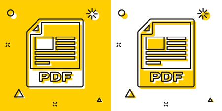 Black PDF file document. Download pdf button icon isolated on yellow and white background. PDF file symbol. Random dynamic shapes. Vector Illustration
