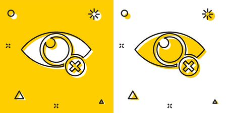 Black Invisible or hide icon isolated on yellow and white background. Random dynamic shapes. Vector Illustration
