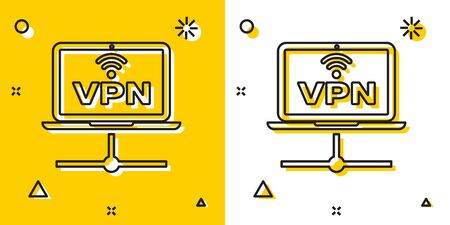 Black VPN Computer network icon isolated on yellow and white background. Laptop network. Internet connection. Random dynamic shapes. Vector Illustration
