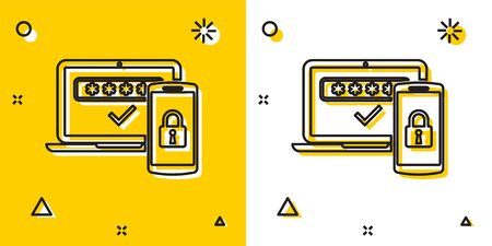 Black Multi factor, two steps authentication icon isolated on yellow and white background. Random dynamic shapes. Vector Illustration Stok Fotoğraf - 129722288