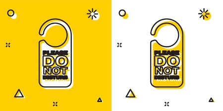 Black Please do not disturb icon isolated on yellow and white background. Hotel Door Hanger Tags. Random dynamic shapes. Vector Illustration Stok Fotoğraf - 129757686