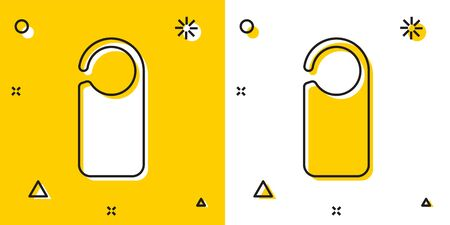 Black Door hanger tags for room in hotel or resort icon isolated on yellow and white background. Please do not disturb sign. Random dynamic shapes. Vector Illustration