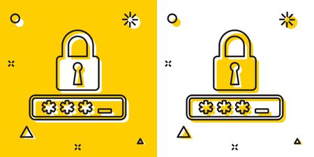 Black Password protection and safety access icon isolated on yellow and white background. Lock icon. Security, safety, protection, privacy concept. Random dynamic shapes. Vector Illustration Illustration