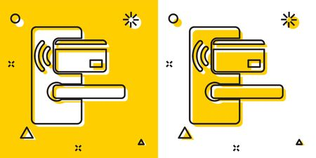 Black Digital door lock with wireless technology for unlock icon isolated on yellow and white background. Door handle sign. Security smart home. Random dynamic shapes. Vector Illustration Foto de archivo - 129757694