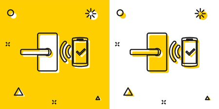 Black Digital door lock with wireless technology for unlock icon isolated on yellow and white background. Door handle sign. Security smart home. Random dynamic shapes. Vector Illustration Foto de archivo - 129757695