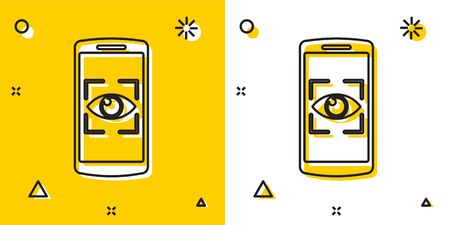 Black Mobile phone and eye scan icon isolated on yellow and white background. Scanning eye. Security check symbol. Cyber eye sign. Random dynamic shapes. Vector Illustration