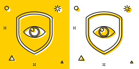 Black Shield and eye icon isolated on yellow and white background. Security, safety, protection, privacy concept. Random dynamic shapes. Vector Illustration
