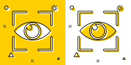 Black Eye scan icon isolated on yellow and white background. Scanning eye. Security check symbol. Cyber eye sign. Random dynamic shapes. Vector Illustration Иллюстрация