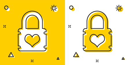 Black Padlock with heart icon isolated on yellow and white background. Locked Heart. Love symbol and keyhole sign. Random dynamic shapes. Vector Illustration  イラスト・ベクター素材