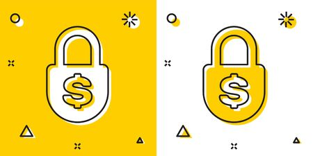 Black Money lock icon isolated on yellow and white background. Padlock and dollar symbol. Finance, security, safety, protection, privacy concept. Random dynamic shapes. Vector Illustration