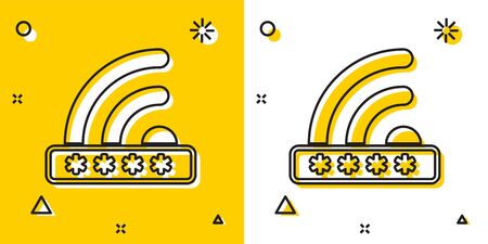 Black Wifi locked sign icon isolated on yellow and white background.  イラスト・ベクター素材