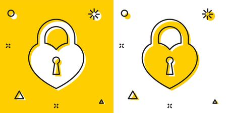 Black Castle in the shape of a heart icon isolated on yellow and white background. Locked Heart. Love symbol and keyhole sign. Random dynamic shapes. Vector Illustration  イラスト・ベクター素材