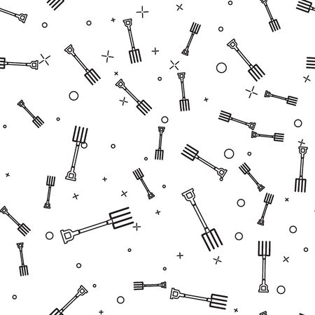 Black line Garden pitchfork icon isolated seamless pattern on white background. Garden fork sign. Tool for horticulture, agriculture, farming. Vector Illustration