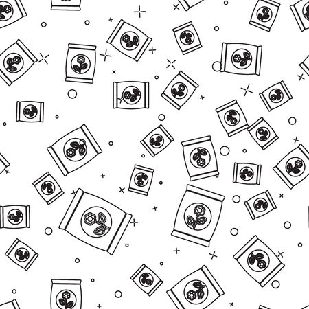 Black line Fertilizer bag icon isolated seamless pattern on white background. Vector Illustration  イラスト・ベクター素材