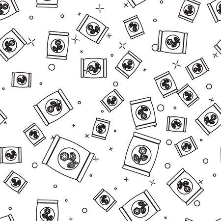 Black line Fertilizer bag icon isolated seamless pattern on white background. Vector Illustration Illustration