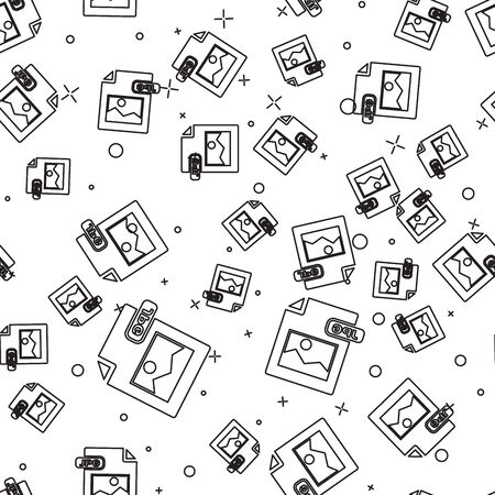 Black line JPG file document. Download image button icon isolated seamless pattern on white background. JPG file symbol. Vector Illustration