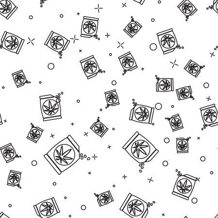 Black line Marijuana or cannabis seeds in a bag icon isolated seamless pattern on white background. Hemp symbol. The process of planting marijuana. Vector Illustration