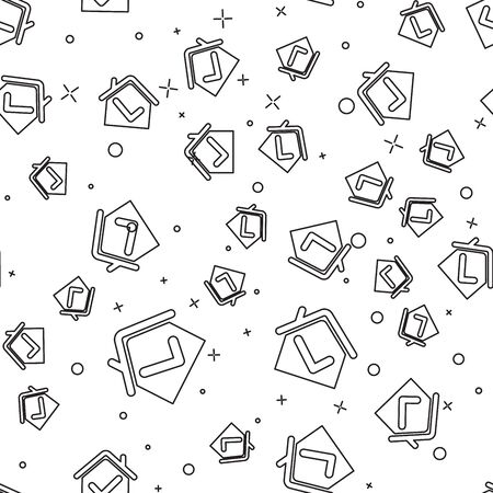 Black line House with check mark icon isolated seamless pattern on white background. Real estate agency or cottage town elite class. Vector Illustration