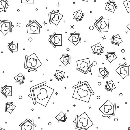 Black line House with heart shape icon isolated seamless pattern on white background. Love home symbol. Family, real estate and realty. Vector Illustration