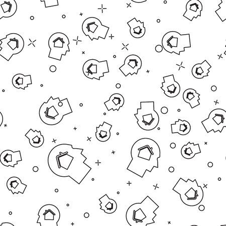 Black line Man dreaming about buying a new house icon isolated seamless pattern on white background. Vector Illustration