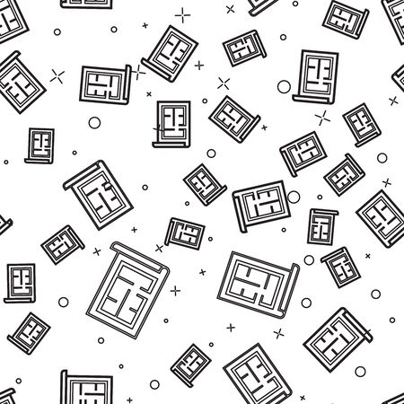 Black line House plan icon isolated seamless pattern on white background. Vector Illustration Ilustração