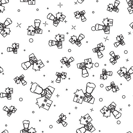 Black line Realtor icon isolated seamless pattern on white background. Buying house. Vector Illustration