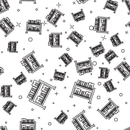 Black line Warehouse icon isolated seamless pattern on white background. Vector Illustration Ilustração