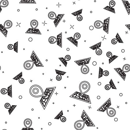 Black line Placeholder on map paper in perspective icon isolated seamless pattern on white background. Vector Illustration