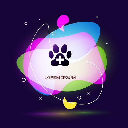Black Veterinary clinic symbol icon isolated on dark blue background. Cross hospital sign. A stylized paw print dog or cat. Pet First Aid sign. Abstract banner with liquid shapes. Vector Illustration