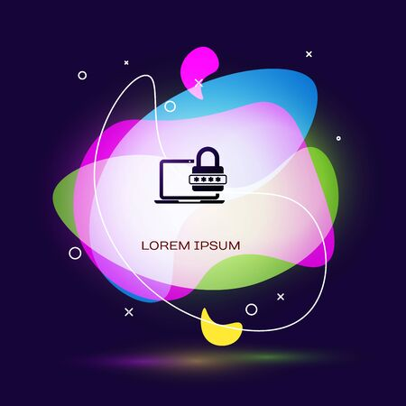 Black Laptop with password notification and lock icon on dark blue background. Security, personal access, user authorization, login form. Abstract banner with liquid shapes. Vector Illustration
