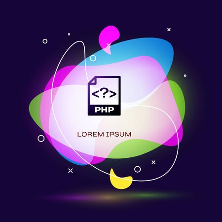 Black PHP file document. Download php button icon isolated on dark blue background. PHP file symbol. Abstract banner with liquid shapes. Vector Illustration