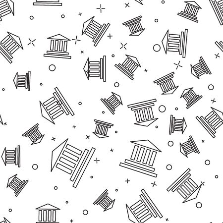 Black line Museum building icon isolated seamless pattern on white background. Vector Illustration