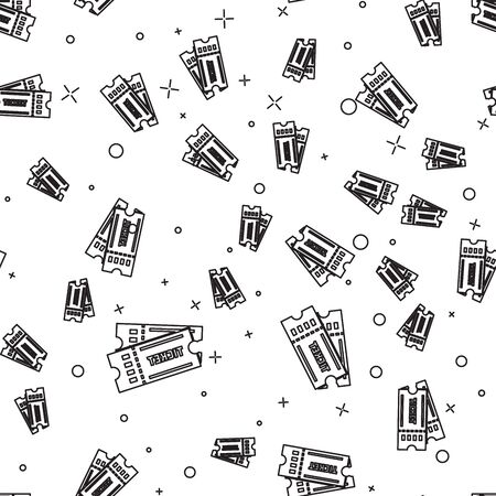 Black line Ticket icon isolated seamless pattern on white background. Vector Illustration