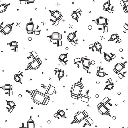 Black line Thermo container icon isolated seamless pattern on white background. Thermo flask icon. Camping and hiking equipment. Vector Illustration  イラスト・ベクター素材