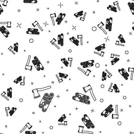 Black line Wooden axe and wood icon isolated seamless pattern on white background. Lumberjack axe. Vector Illustration